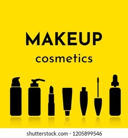 Vector illustration with set makeup tools^ bottles with foundation, serum, lipstic, mascara, cream