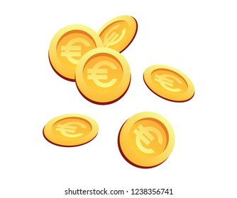 Vector Illustration Set Many Gold Coins Euro Sign. Set Vector IImage Cartoon Set Gold Coins with Euro Sign Isolated White Background. Concept Financial growth Company, City.