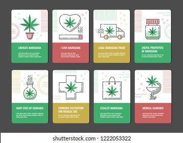 Vector illustration set of marijuana consumption and legalization vertical banners with line icons of cannabis leaf -concept of medical use and legal growth and trade of sativa.