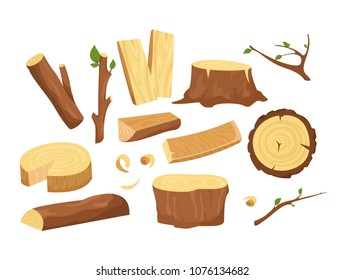 Vector illustration set of materials for wood industry. Collection of tree logs, planks, stump, twigs and trunks in cartoon flat style.