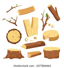 Vector illustration set of materials for wood industry, tree logs, wood trunks, chopped firewood wooden planks, stump, twigs and trunks in cartoon flat style.