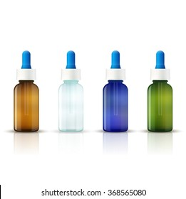 Vector illustration of a set of medical blank glass bottles. Packing on white background isolated