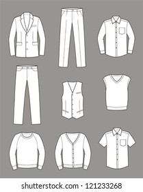 Vector illustration. Set of men's business clothes: coat, pants, waistcoat, shirt, knitwear, cardigan, jumper. Business style