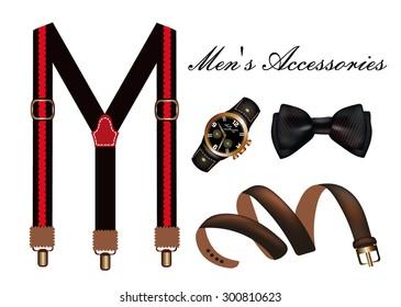 Vector illustration of a set of men's classic Accessories.Tie, belt, watches and men's suspenders