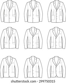 Vector illustration. Set of men's jackets. Clothes in business style