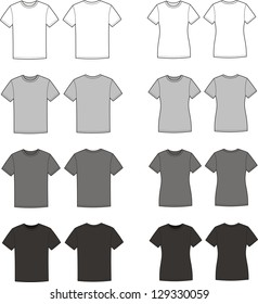 Vector illustration. Set of men's and women's t-shirts. Casual clothes. Different colors: white, grey, black. Front and back views