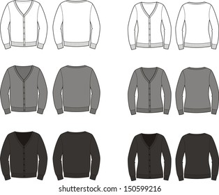 Vector illustration. Set of men's and women's cardigans. Casual clothes. Front and back views. Different colors: white, grey, black