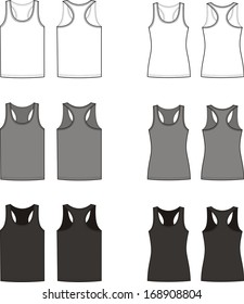 Vector illustration. Set of men's and women's singlets. Sport clothes. Front and back views. Different colors: white, grey, black