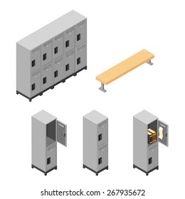 A vector illustration of a set of metal lockers for securing personal items. Isometric steel locker Icon set.