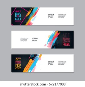 Vector illustration. Set modern art banner design. Colorful hipster style. Graphics stylish brush banners, advertising and sales on the site, billboard, booklets, flyer. posters.