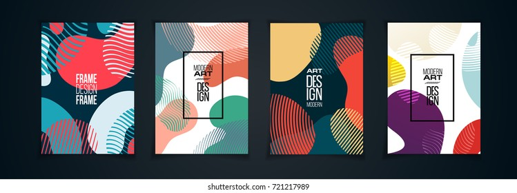 vector illustration. a set of modern design frames. posters with liquid background. element for design business cards, invitations, gift cards, flyers and brochures