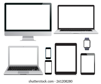 Vector illustration, set of modern electronic devices isolated on white background - laptop, computer monitor, smart watch, tablet pc and mobile smartphones