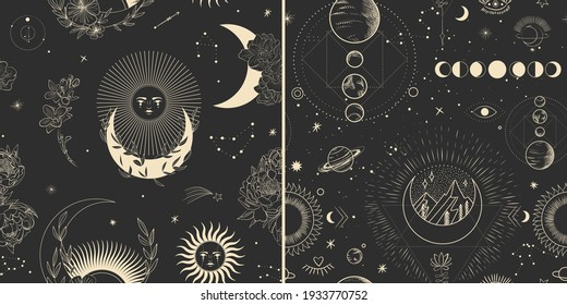 Vector illustration set of moon phases. Different stages of moonlight activity in vintage engraving style. branches of plants and flowers. sacred isoteric geometry