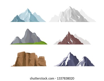 Vector illustration set of mountain icons in flat cartoon style. Different mountains and hills collection isolated on white background.