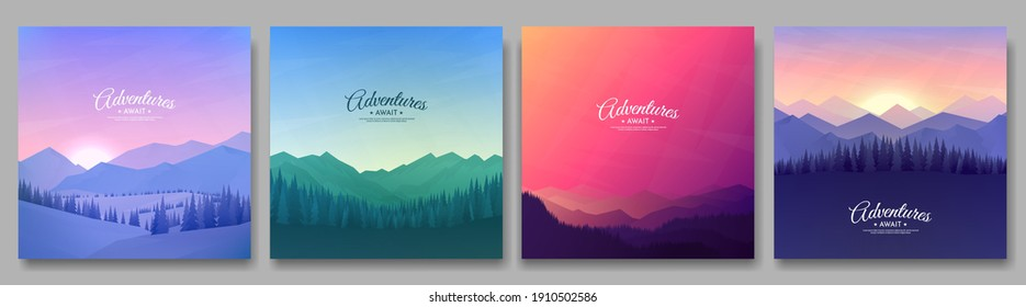 Vector illustration. A set of mountain landscapes. Geometric minimalist flat style. Sunrise, misty terrain with slopes, mountains near the forest. Design for banner, blog post, social media template