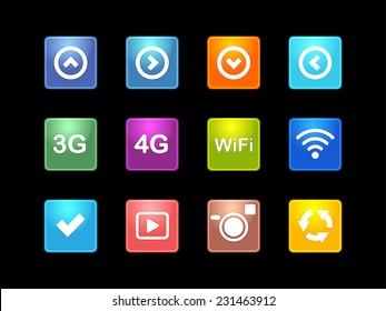 Vector illustration. Set of  multicolored computer icon made on various topics for web applications, web presentation and more.