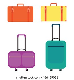 Vector illustration. Set of multicolored suitcases.
