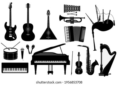 Vector illustration of a set of musical instruments guitar, electric guitar, balalaika, drum, synthesizer, microphone, maracas, grand piano, violin, saxophone, harp, button accordion, trumpet, xylopho