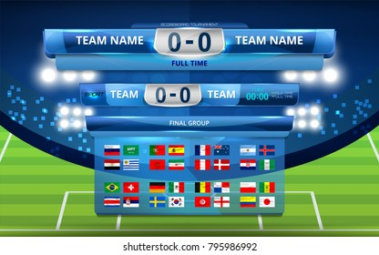 Vector illustration Set of National Flag with Scoreboard Broadcast and Lower Thirds Template for Football tournament