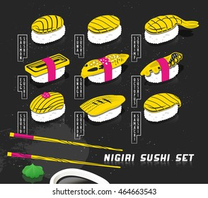 Vector illustration set of nigiri sushi in sketch style. Japanese food cover for menu. Printable art with chalkboard effect. Creative food print on neon colors for card and poster.