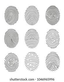 Vector illustration set of nine black line fingerprint types on white background.