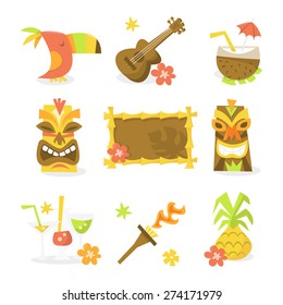 A vector illustration set of nine different luau tiki party theme like toucan bird, guitar, ukulele, coconut juice, tiki statues, tiki sign, tropical cocktails, flame torch and pineapple.