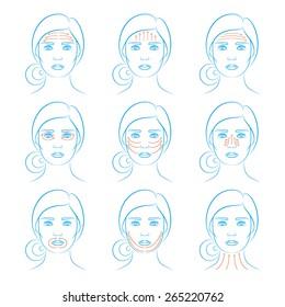Vector illustration: set of nine face massage instructions in blue sketch