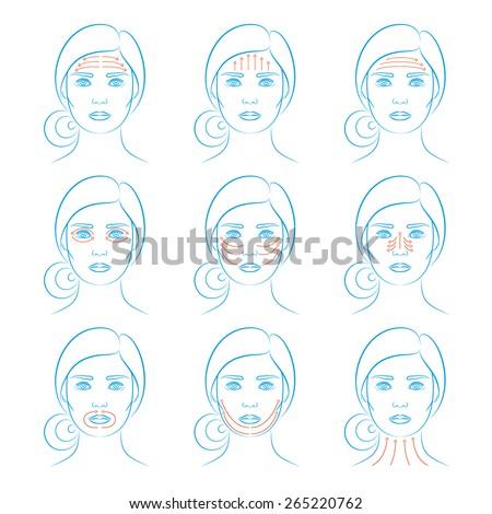 Vector Illustration Set Nine Face Massage Stock Vector Royalty Free