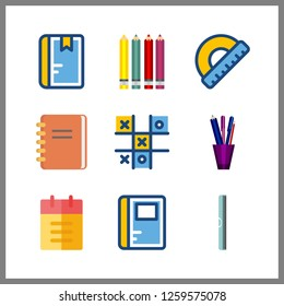 Vector illustration set notebook, pencil  and ruller icons for pencil works