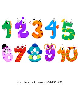 Vector Illustration of Set of Numbers Monster