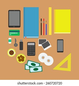 Vector illustration set of office and business work elements on a desk.