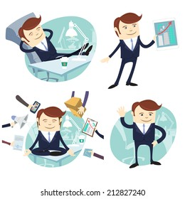Vector Illustration Set of office man: lazy worker foot on desk, salesman with device, busy multitasking man, waving office white collar