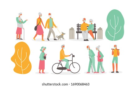 Vector illustration set of old people walking outside in park and wearing masks, isolated on white background. Virus concept, protection, grandmother and grandfather, epidemic concept, flat cartoon