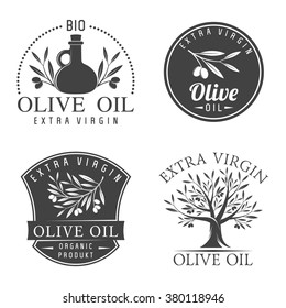 Vector illustration set of olive labels and badges isolated on white background. Olive oil labels