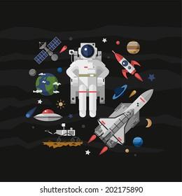 Vector illustration set on space. Flat.