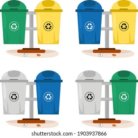 Vector illustration set of organic and inorganic trash boxes in the yard to accommodate trash