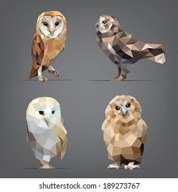 Vector illustration set of owls in origami style