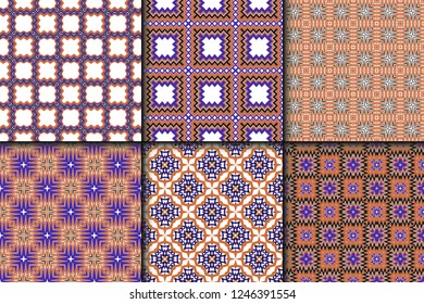 Vector illustration. set of pattern with geometric ornament, decorative border. design for print fabric. paper for scrapbook