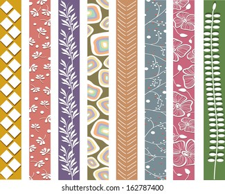 Vector illustration of a set of patterns in blight colors with floral ornaments
