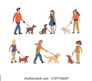 Vector illustration of the set of people dog walking with many dogs breeds.  Dog walker concept illustration in cartoon hand drawn style. dogs on the street