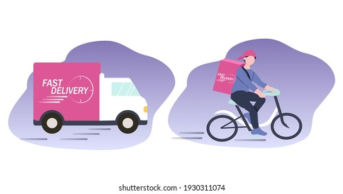vector illustration. a set of pictures on the theme of fast delivery - a truck and a cyclist - a courier with a box. flat trending illustration for websites, magazines and apps