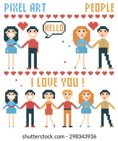 Vector illustration. Set of pixel people, words, hearts isolated on white background.