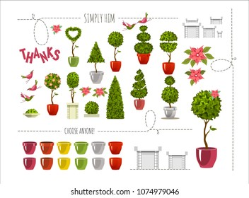 vector illustration set of plants in pots for street topiary on a white background