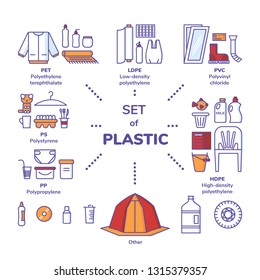 Vector illustration. Set of plastics types with recycling mark and product examples; PET, HDPE, PVC, LDPE, PP and PS. Synthetic clothing, bottles, toys, food containers and others.