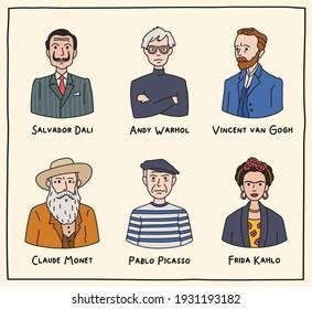Vector illustration. Set of portraits of famous artists of the world. Salvador Dali,  Andy Warhol, Vincent van Gogh, Claude Monet, Pablo Picasso, Frida Kahlo
