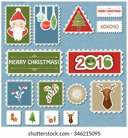 Vector illustration of a set of post stamps Christmas and New Year related