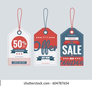 Vector illustration. Set of price tags, sale coupon and voucher for store promotions.