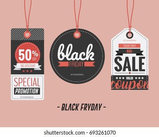 Vector illustration. Set of price tags, sale coupon and voucher for Black Friday.