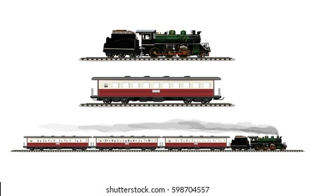 Vector Illustration: set procession Ancient train include Old steam locomotive and compartment railroad tracks isolated on white background.
