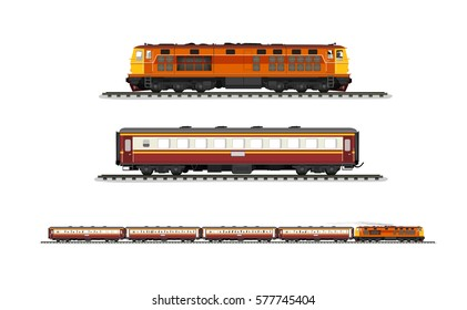 Vector Illustration: set procession train include diesel-electric locomotive and compartment and railroad tracks isolated on white background.